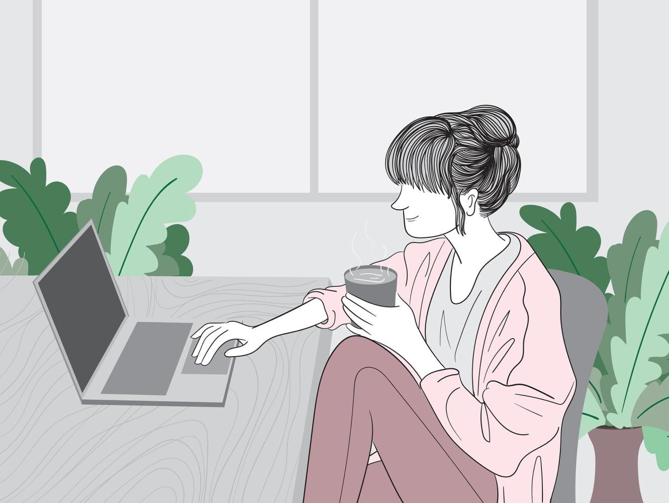 Femme développeuse web en télétravail full remote